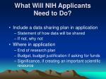 what will nih applicants need to do