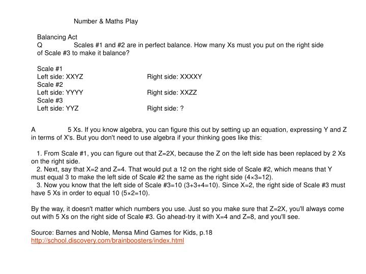 Number & Maths Play