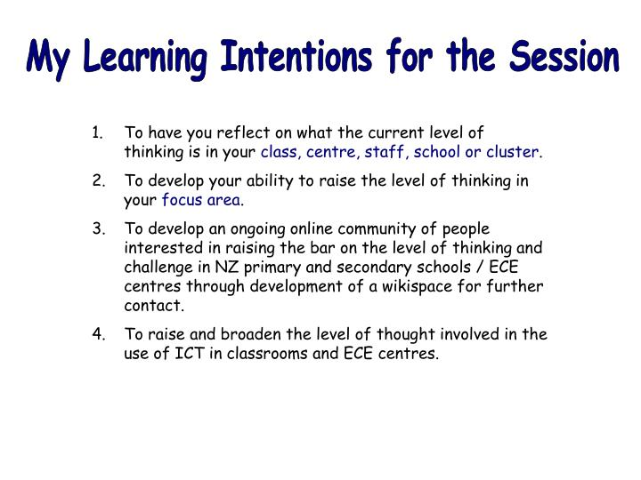 My Learning Intentions for the Session