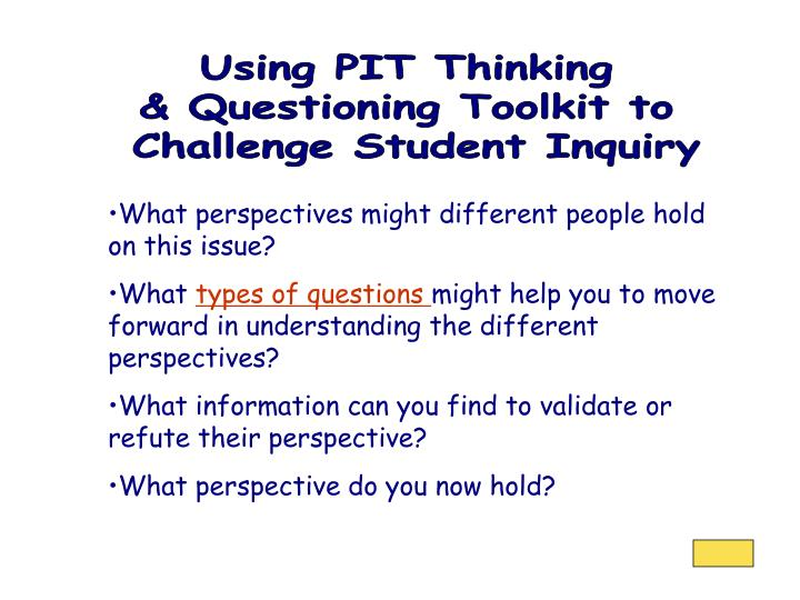 Using PIT Thinking