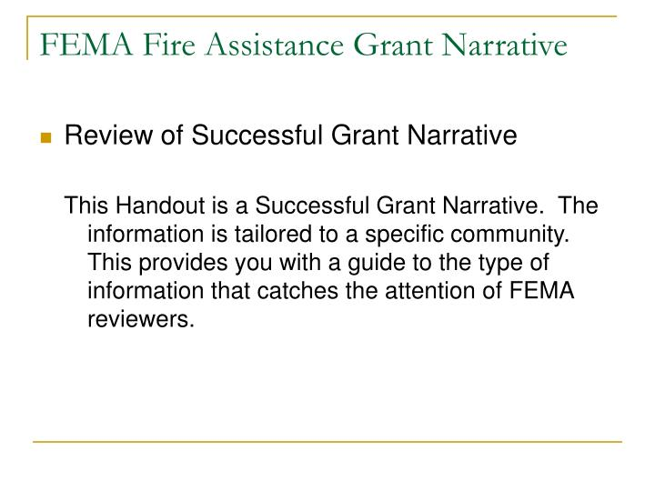 FEMA Fire Assistance Grant Narrative