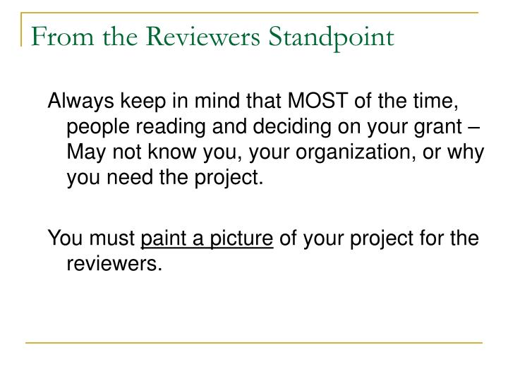 From the Reviewers Standpoint