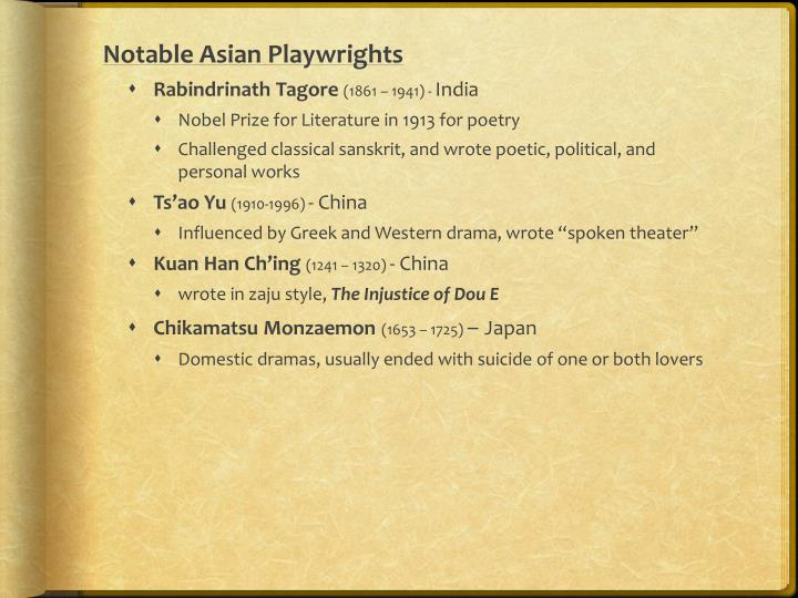 Notable Asian Playwrights