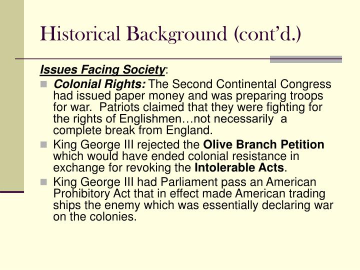 Historical Background (cont'd.)