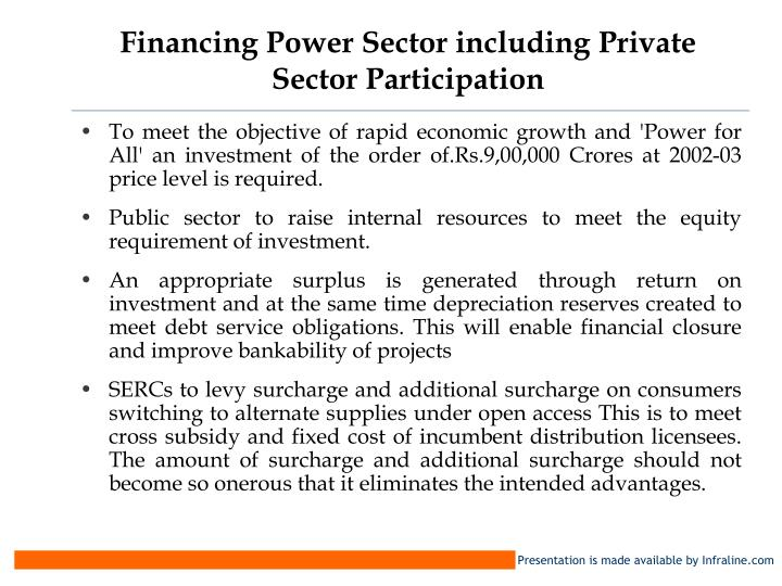 Financing Power Sector including Private Sector Participation