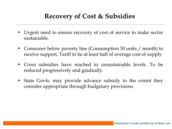 Recovery of Cost & Subsidies