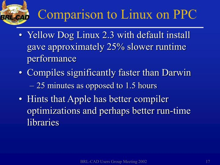 Yellow Dog Linux 2.3 with default install gave approximately 25% slower runtime performance