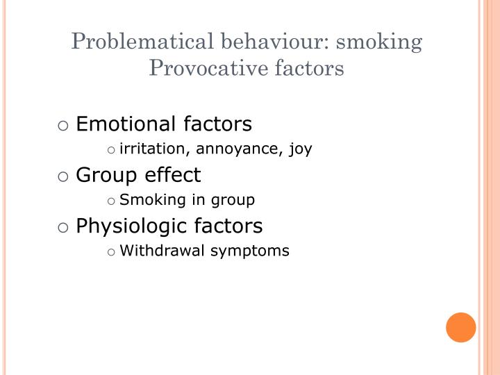 Problematical behaviour: smoking