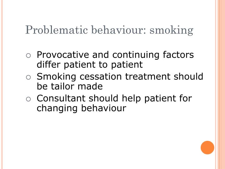 Problematic behaviour: smoking