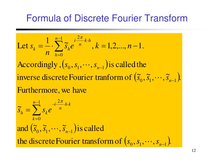 Formula of Discrete Fourier Transform