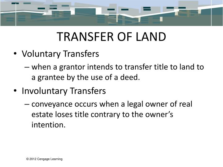 TRANSFER OF LAND