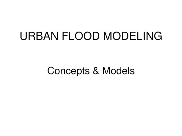 Urban flood modeling