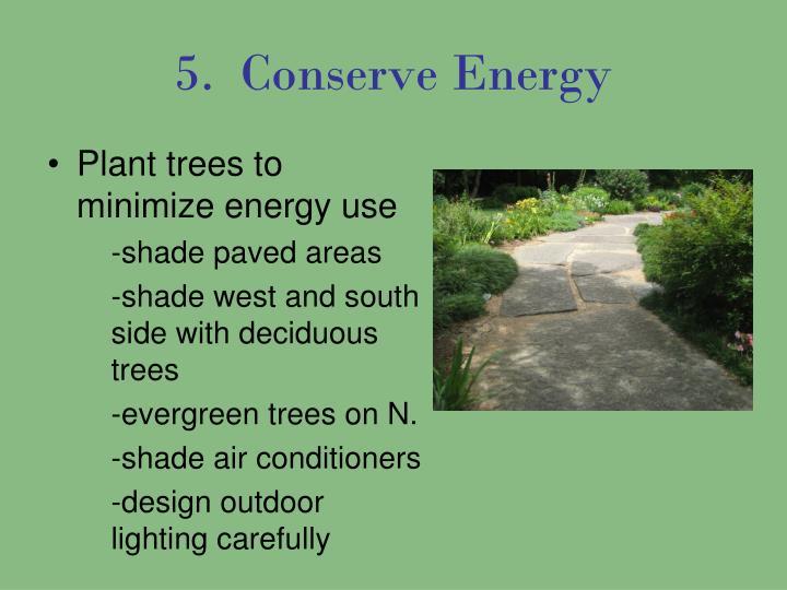 5.  Conserve Energy