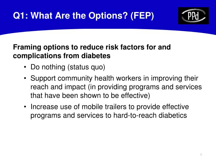 Q1: What Are the Options? (FEP)