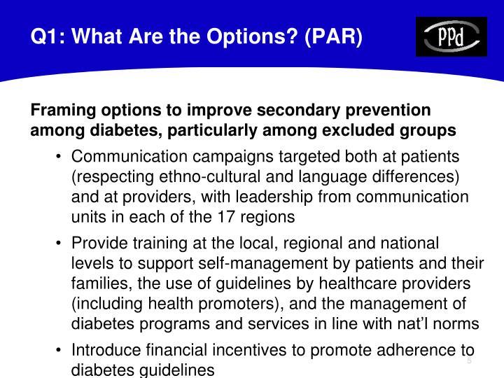 Q1: What Are the Options? (PAR)