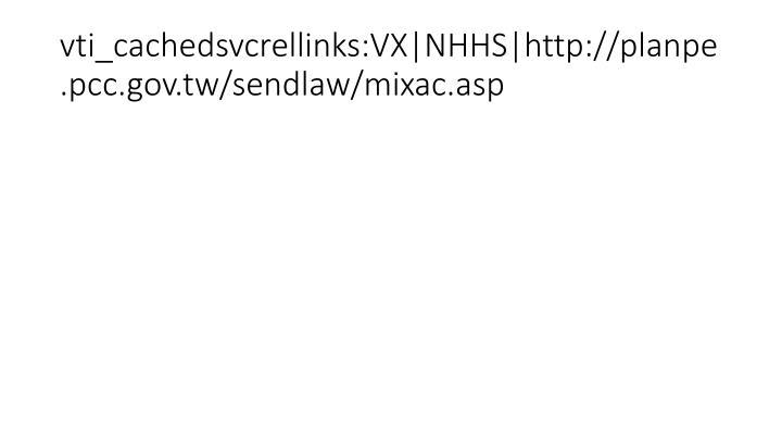 vti_cachedsvcrellinks:VX NHHS http://planpe.pcc.gov.tw/sendlaw/mixac.asp