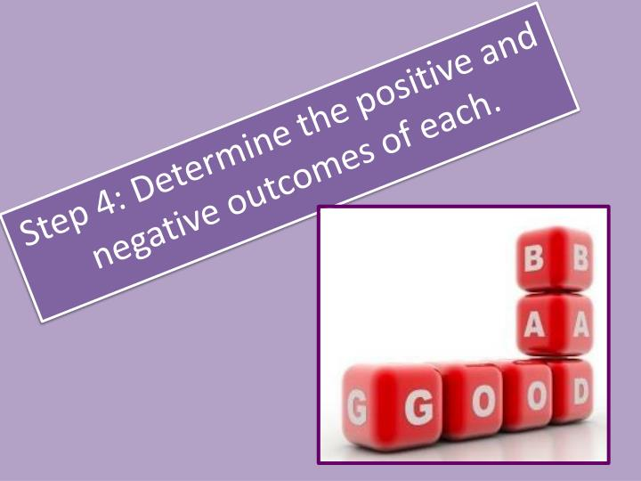 Step 4: Determine the positive and negative outcomes of each.