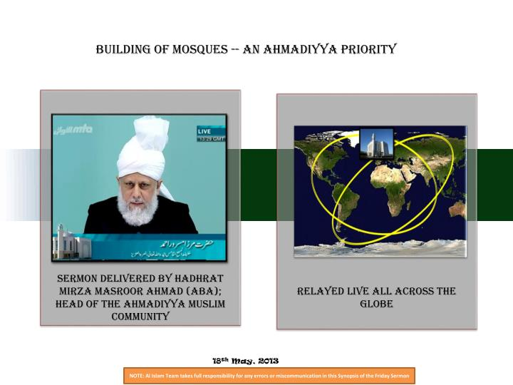 Building of Mosques -- An Ahmadiyya Priority