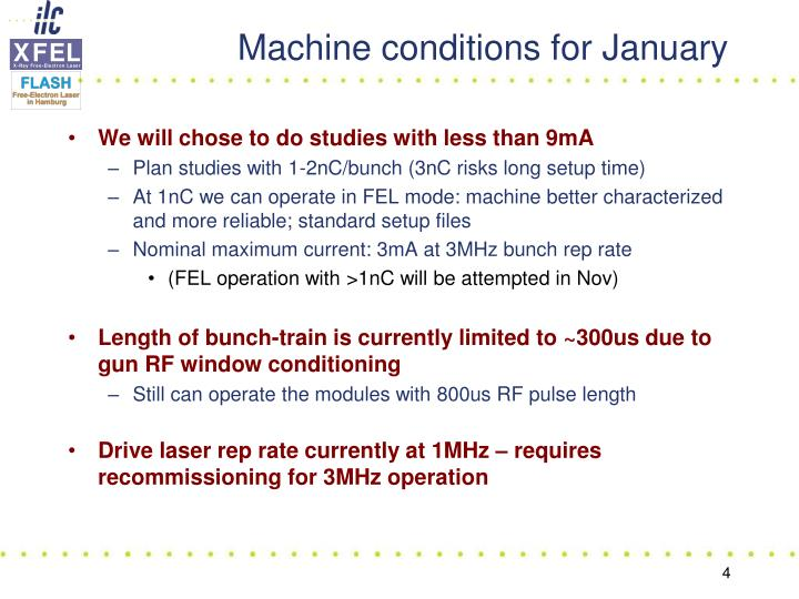 Machine conditions for January