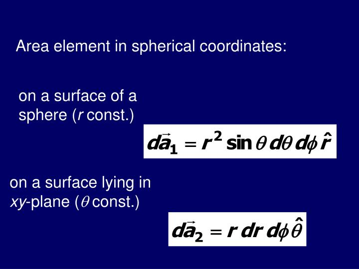 Area element in spherical coordinates: