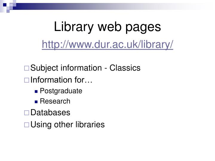 Library web pages