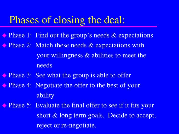 Phases of closing the deal: