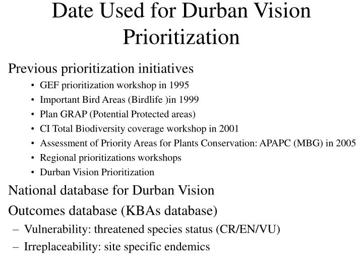 Date Used for Durban Vision Prioritization