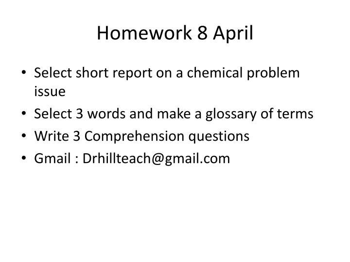 Homework 8 April