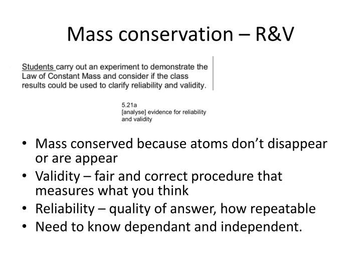 Mass conservation – R&V