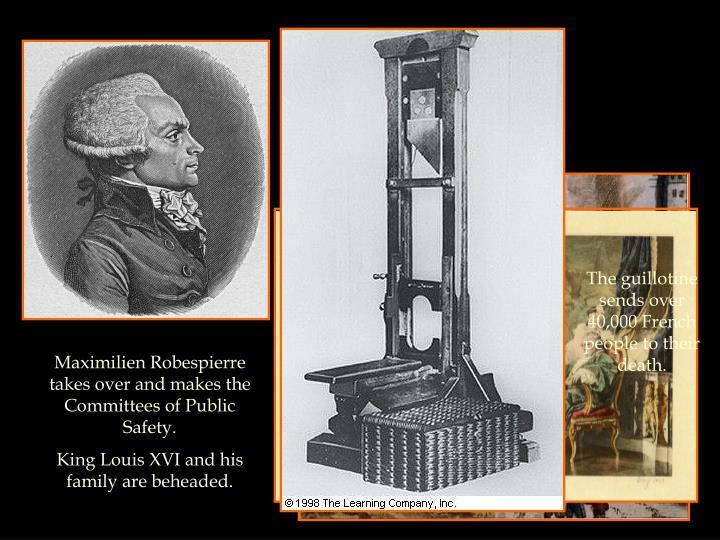 The guillotine sends over 40,000 French people to their death.