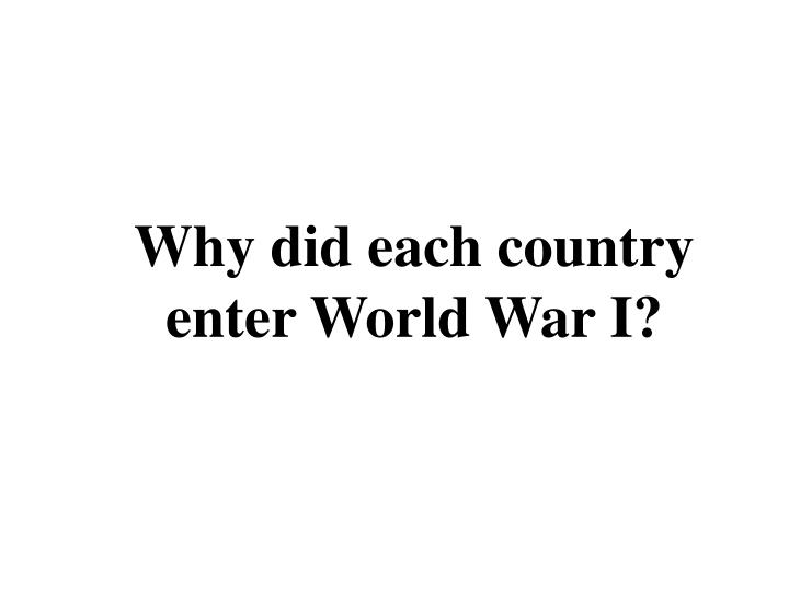 Why did each country enter World War I?