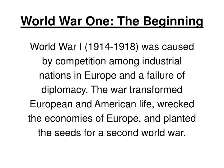 World war one the beginning