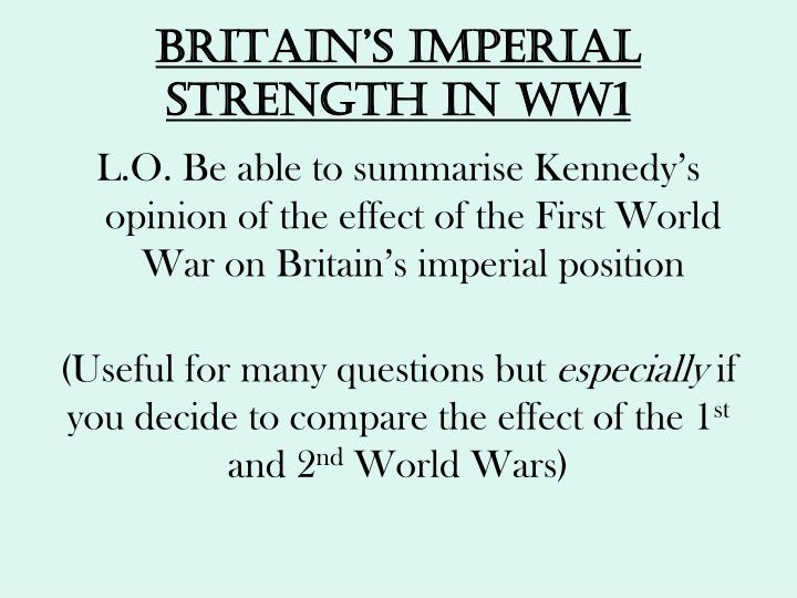 Britain s imperial strength in ww1