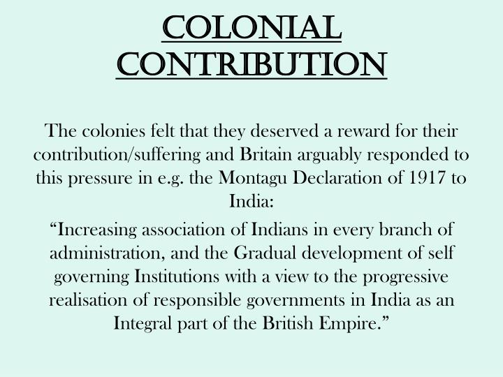 Colonial contribution