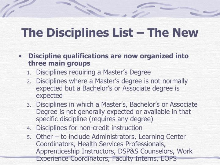 The Disciplines List – The New