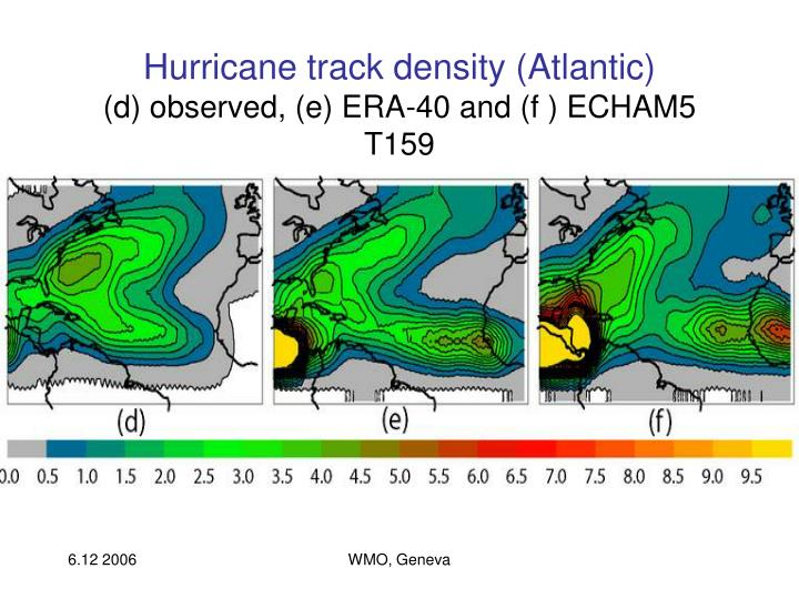 Hurricane track density (Atlantic)