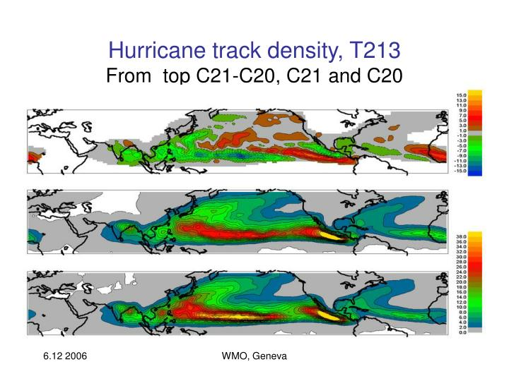Hurricane track density, T213