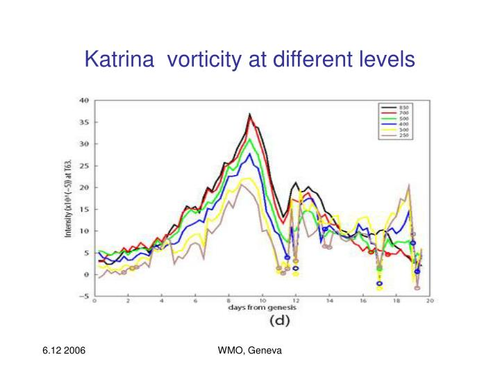 Katrina  vorticity at different levels