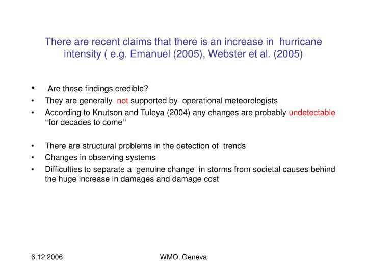 There are recent claims that there is an increase in  hurricane intensity ( e.g. Emanuel (2005), Webster et al. (2005)