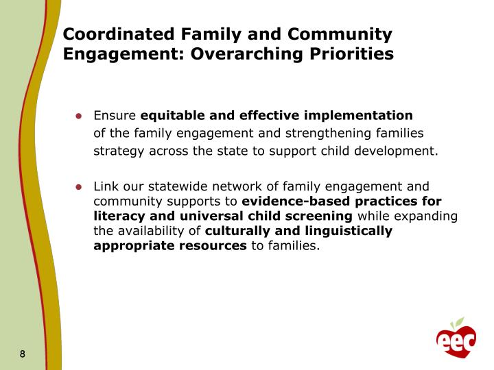 Coordinated Family and Community Engagement: Overarching Priorities