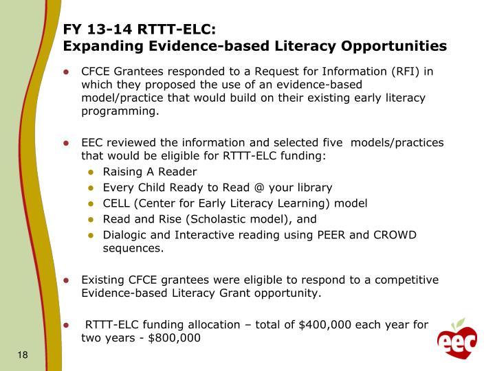 FY 13-14 RTTT-ELC: