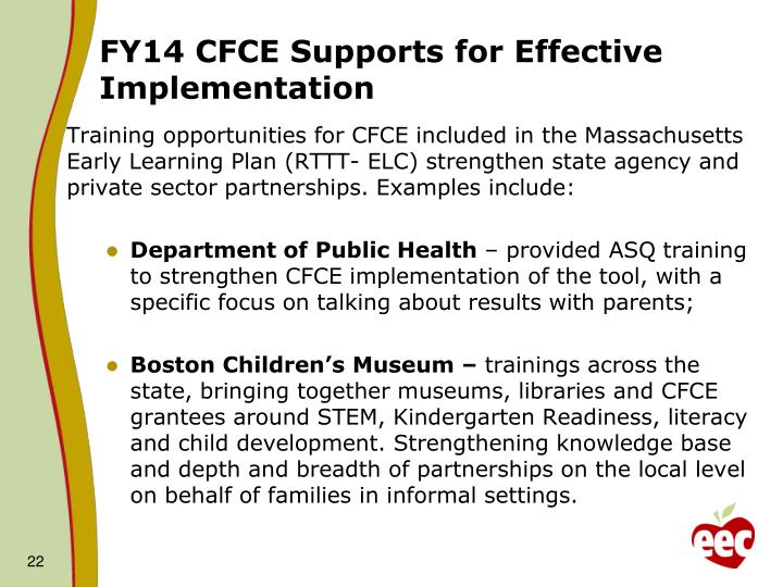 FY14 CFCE Supports for Effective Implementation