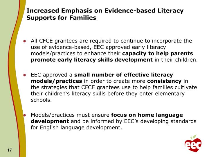 Increased Emphasis on Evidence-based Literacy Supports for Families