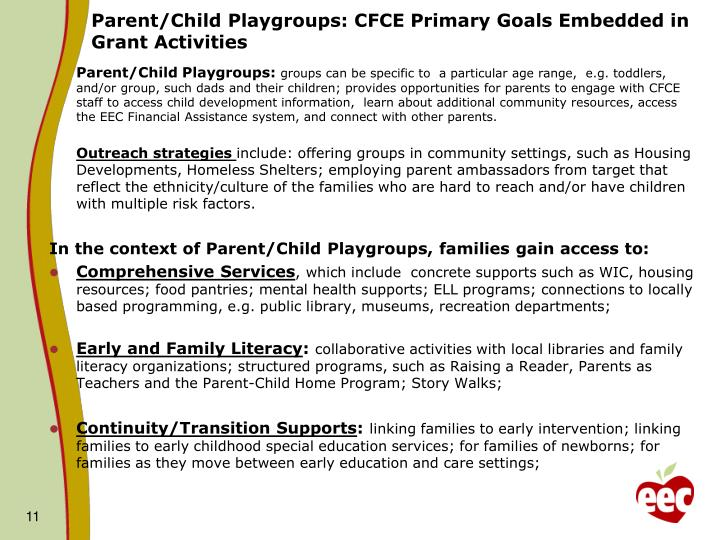 Parent/Child Playgroups: CFCE Primary Goals Embedded in Grant Activities