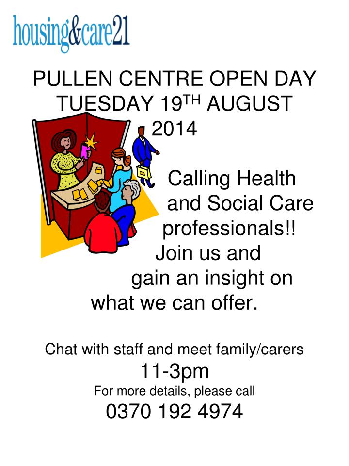 PULLEN CENTRE OPEN DAY TUESDAY 19