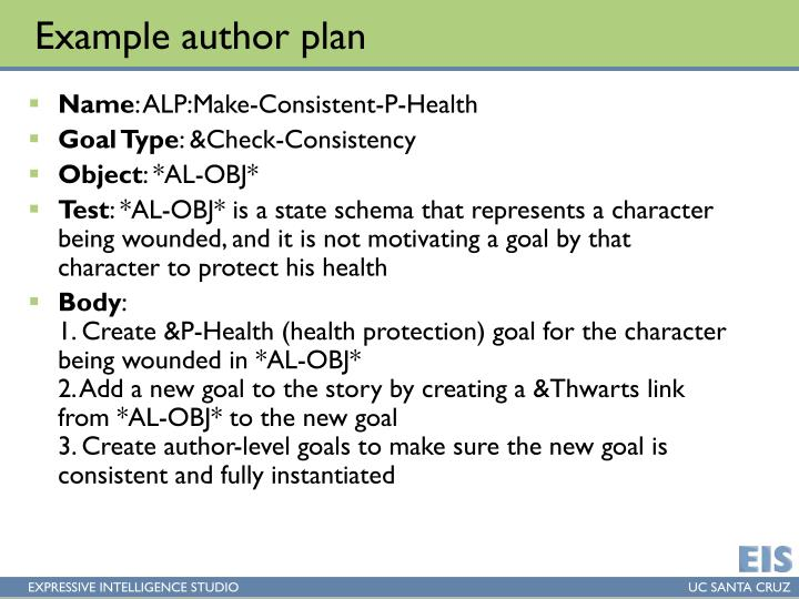 Example author plan