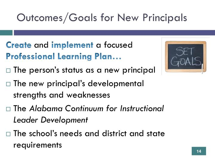 Outcomes/Goals for New Principals