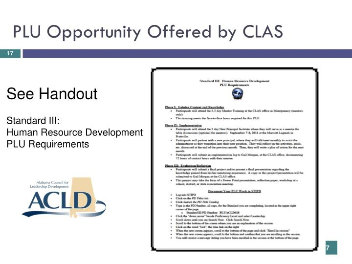PLU Opportunity Offered by CLAS