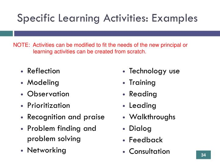 Specific Learning Activities: Examples