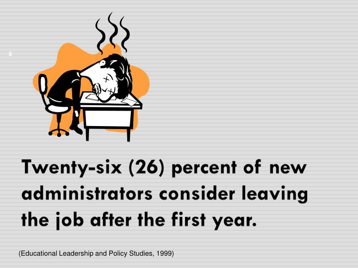 Twenty-six (26) percent of new administrators consider leaving the job after the first year.